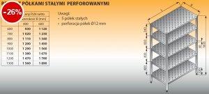 Regał z półkami stałymi perforowanymi lo 604 - 900x400