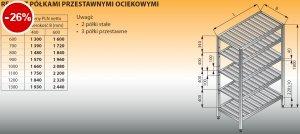 Regał z półkami przestawnymi ociekowymi lo 606 - 1300x400