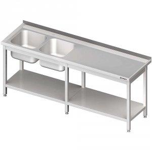 Stół ze zlewem 2-kom.(L),z półką 2300x700x850 mm