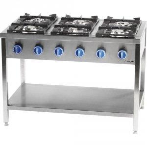 Kuchnia gazowa wolnostojąca 6 palnikowa z półką 36.5 kw - g30 (propan-butan)