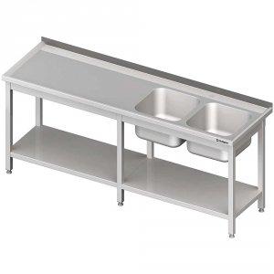 Stół ze zlewem 2-kom.(P),z półką 2500x600x850 mm