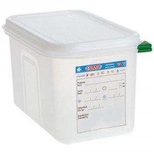 Pojemnik z polipropylenu z pokrywką szczelną, GN 1/4, H 100 mm