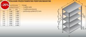 Regał z półkami przestawnymi perforowanymi lo 607 - 700x400