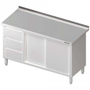 Stół przyścienny z blokiem trzech szuflad (L),drzwi suwane 1700x600x850 mm