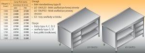 Stół roboczy z blokiem szuflad i szafką otwartą lo 136/s3 - 1700x700