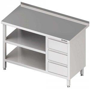 Stół przyścienny z blokiem trzech szuflad (P),i 2-ma półkami 1900x600x850 mm