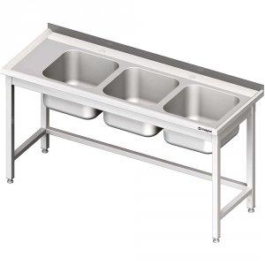 Stół ze zlewem 3-kom.(P),bez półki 1500x600x850 mm