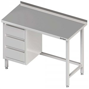 Stół przyścienny z blokiem trzech szuflad (L),bez półki 1700x700x850 mm