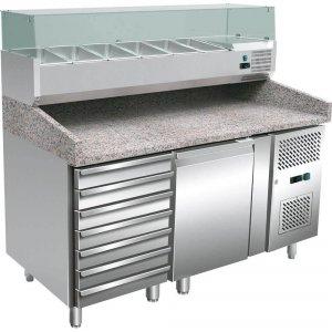 stół chłodniczy 1 drzwiowy do pizzy z szufladami i nadstawą, 600X400 mm