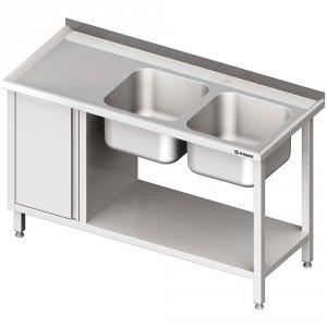 Stół ze zlew 2-kom.(P), z szafką i półką 1900x600x850 mm