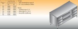 Stół roboczy z dwoma blokami szuflad i szafką otwartą lo 144/s3 - 1600x700
