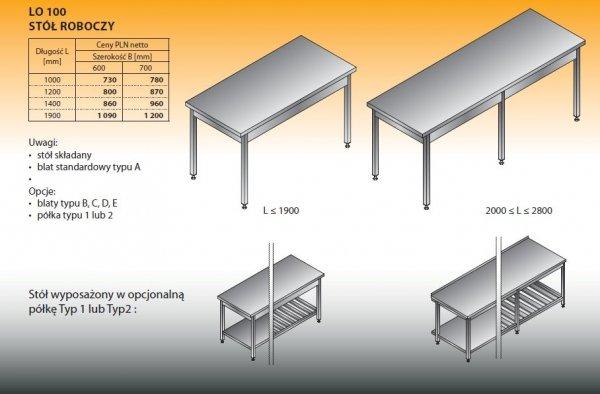 Stół roboczy lo 100 1000/700