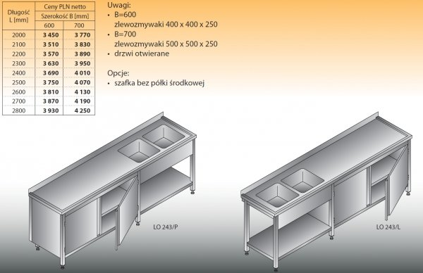 Stół zlewozmywakowy 2-zbiornikowy lo 243 - 2000x600