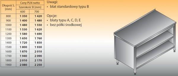 Stół roboczy z szafką otwartą lo 114 1100/700