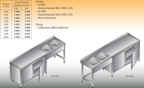 Stół zlewozmywakowy 2-zbiornikowy lo 242 - 2000x600