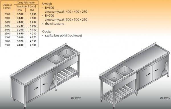 Stół zlewozmywakowy 2-zbiornikowy lo 249 - 2000x600