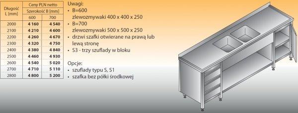 Stół zlewozmywakowy 2-zbiornikowy lo 251/s3 - 2000x600
