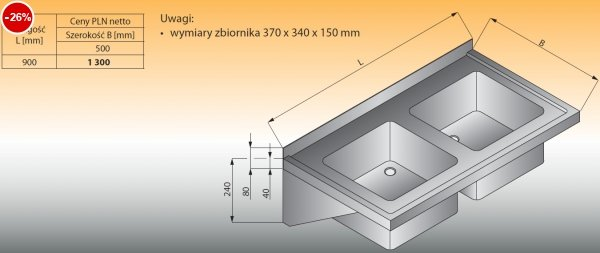 Zlewozmywak 2-komorowy ścienny lo 413 - 900x500