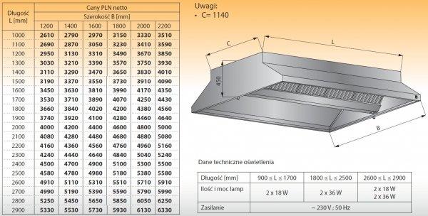 Okap centralny z oświetleniem lo 911 - 1100x2200