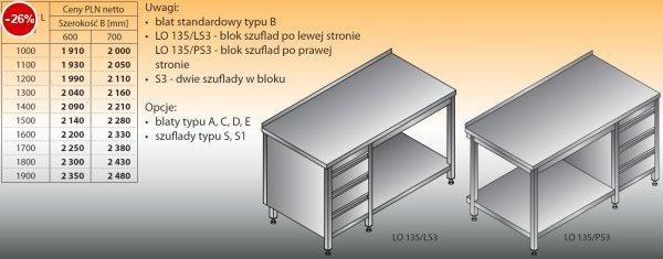 Stół roboczy z blokiem szuflad i półką lo 135/s3 - 1000x600