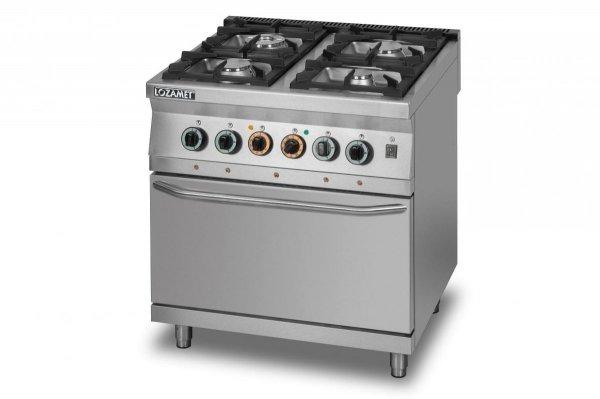 Kuchnia gazowa 4-palnikowa z piekarnikiem elektrycznym z termoobiegiem GN2/1 L900.KG4 PET Lozamet