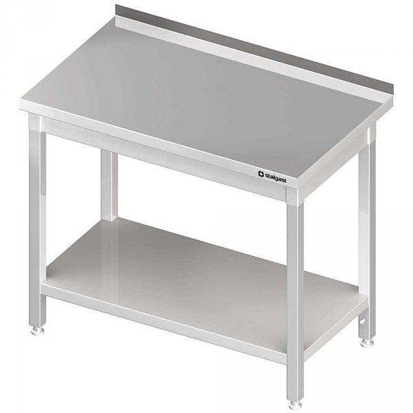 stół stalowy z półką, przyścienny, spawany, 1400x600x850 mm
