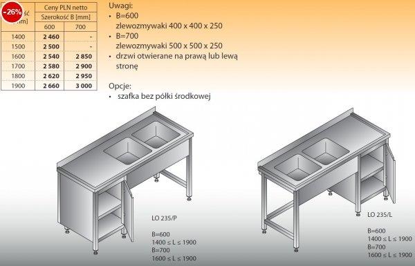 Stół zlewozmywakowy 2-zbiornikowy lo 235 - 1400x600