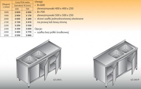 Stół zlewozmywakowy 2-zbiornikowy lo 245 - 1800x600