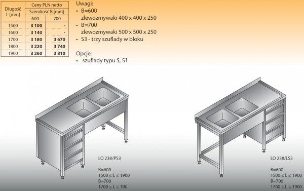 Stół zlewozmywakowy 2-zbiornikowy lo 238/s3 - 1500x600