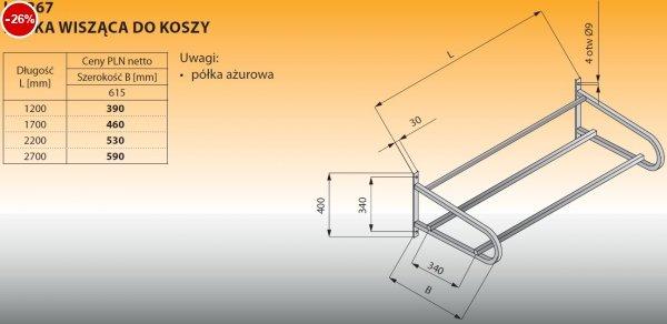 Półka wisząca do koszy lo 367 - 1200x615 Lozamet