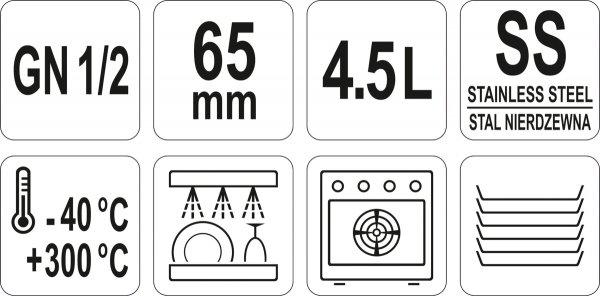 POJEMNIK GASTRONOMICZNY ZE STALI NIERDZEWNEJ GN 1/2 65MM 4,5L Yato