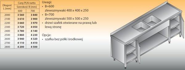 Stół zlewozmywakowy 2-zbiornikowy lo 251 - 2000x600