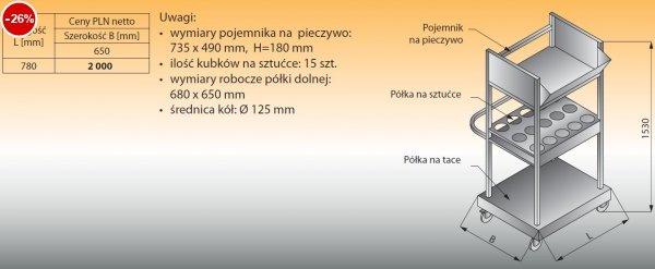 Wózek do tac, sztućców i pieczywa lo 822 - 780x650