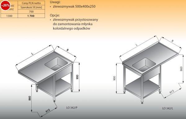 Stół zlewozmywakowy 1-zbiornikowy z półką lo 342 prawy Lozamet