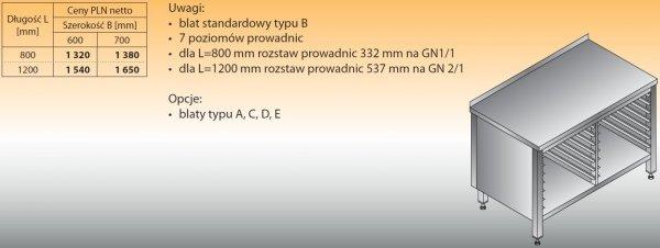 Stół z prowadnicami na pojemniki gn lo 112 1200/700