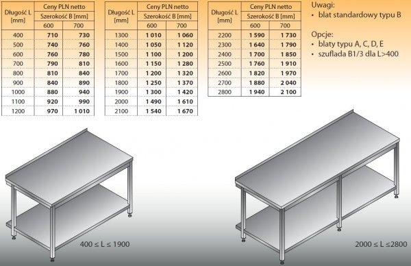 Stół roboczy lo 102 800/700