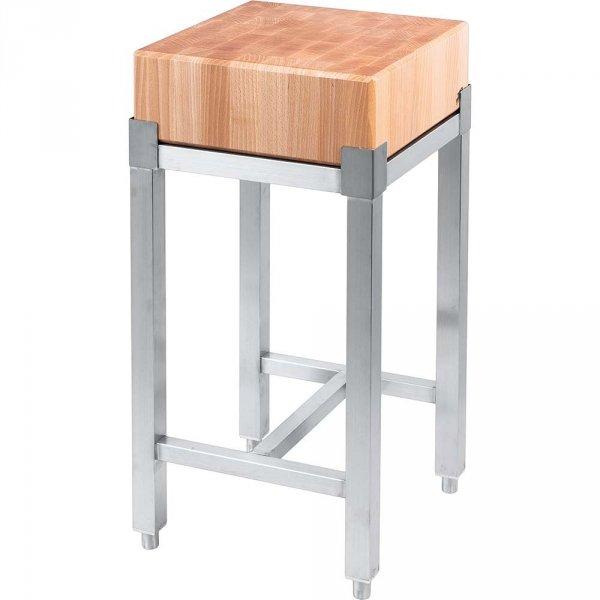 kloc masarski, drewniany na podstawie ze stali nierdzewnej, 400x400x800 mm