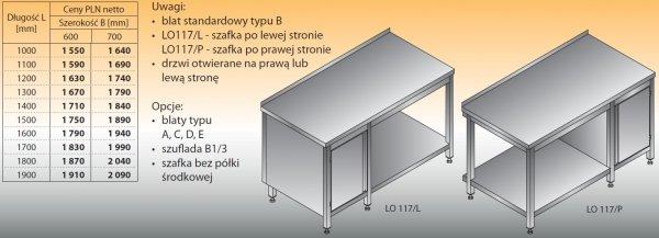 Stół roboczy z szafką i półką lo 117/l; lo 117/p 1400/600
