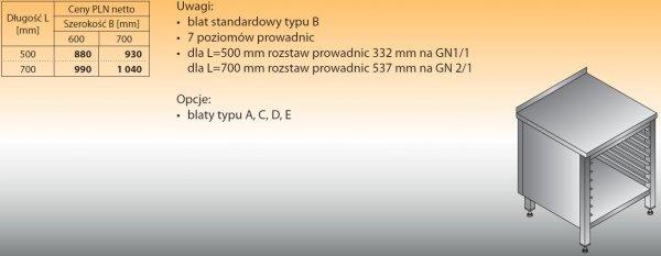 Stół z prowadnicami na pojemniki gn lo 111 500/700