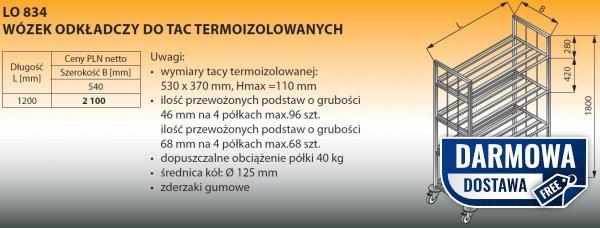 Wózek odkładczy do tac termoizolowanych lo 834 - 1200x540