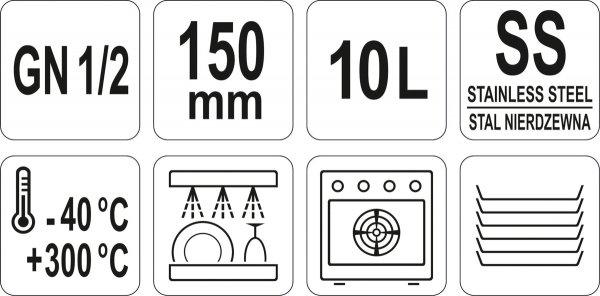 POJEMNIK GASTRONOMICZNY ZE STALI NIERDZEWNEJ GN 1/2 150 Yato