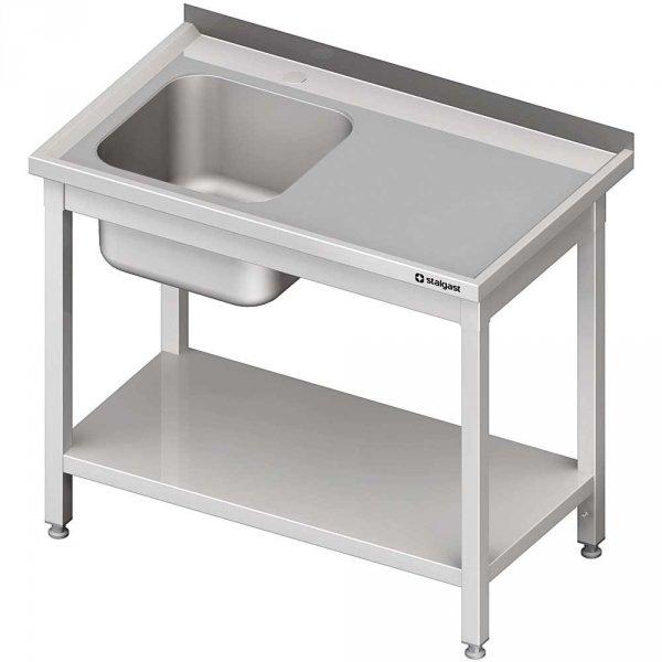 stół stalowy z półką ze zlewem 1-komorowym lewym, spawany, blat tłoczony, 1000x600x850 mm