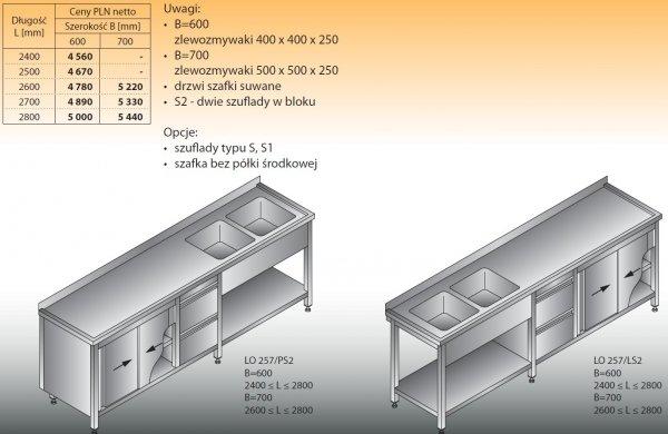 Stół zlewozmywakowy 2-zbiornikowy lo 257/s2 - 2400x600