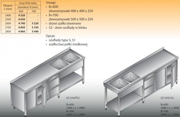 Stół zlewozmywakowy 2-zbiornikowy lo 254/s2 - 2400x600