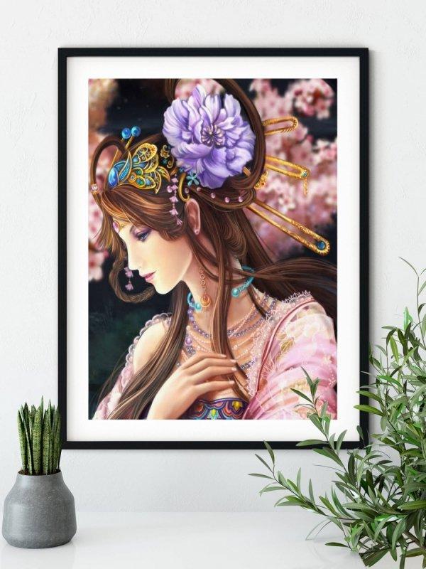 Haft Diamentowy Japońska Kobieta 45x55 cm K