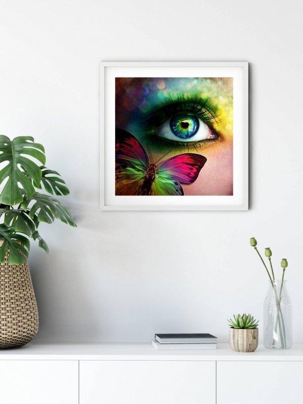 Haft Diamentowy Oko i Motyl 45x45 cm K