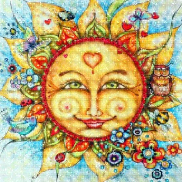 Haft Diamentowy Uśmiechnięte Słońce 45x45 cm