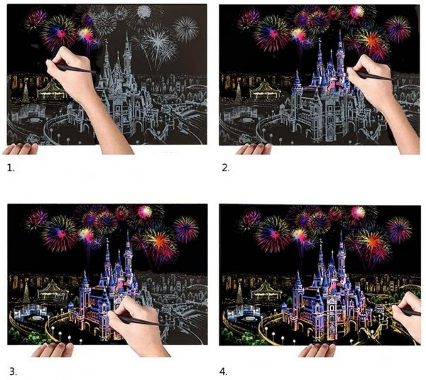 Magiczna Zdrapka Drapieżniki (4szt.) 30x21 cm