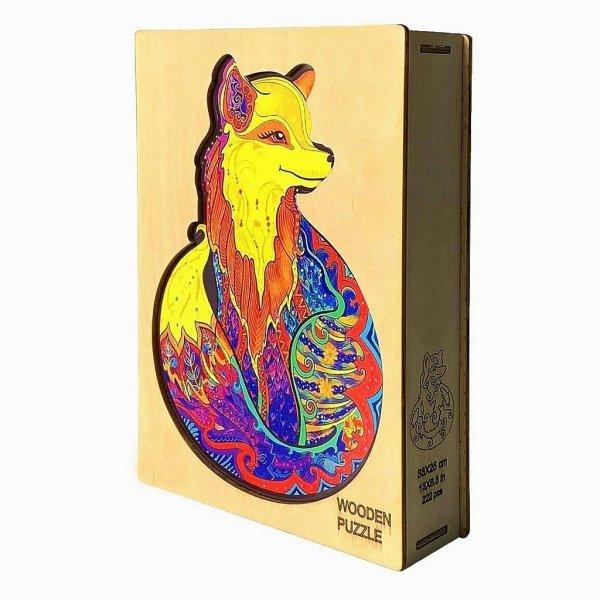 Drewniane Puzzle Kolorowy Lis A3