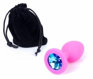 Exclusivity silikonowa mała wtyczka analna z niebieskim kryształkiem
